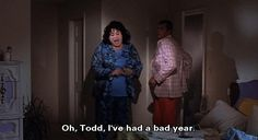 """""""Oh, Todd, I've had a bad year. Divine (as Francine Fishpaw) and Tab Hunter (as Todd Tomorrow) from John Waters' Polyester, 1981 Stiv Bators, Tab Hunter, John Waters, Queens, Actors, Movies, Films, Cinema, Movie"""