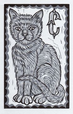 """Alphabet letter """"C"""" - Hand pulled linoleum block print by Neil (Hare) Stavely, 2010"""