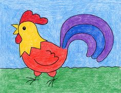 Draw a Rooster · Art Projects for Kids Basic Drawing For Kids, Drawing Lessons For Kids, Easy Drawings For Kids, Drawing Tutorials For Kids, Easy Art Projects, Drawing Projects, Projects For Kids, Drawing Ideas, Kids Art Class