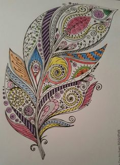 Feather doodles in 2019 feather art, feather drawing, feathe Feather Drawing, Feather Painting, Feather Art, Feather Tattoos, Mandala Feather, Mandalas Drawing, Mandala Art, Zen Doodle, Doodle Art