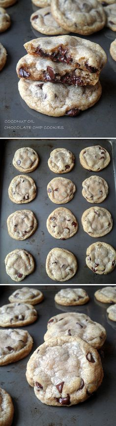 The BEST Chocolate Chip Cookies made with Coconut Oil