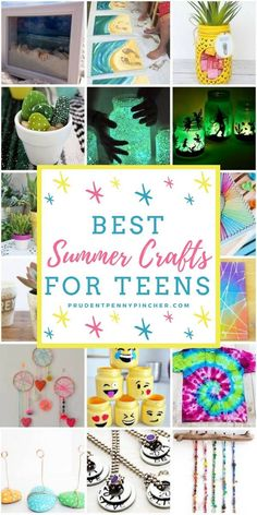 100 Best Summer Crafts for Kids. 100 Best Summer Crafts for Teens. Give your kids endless hours of fun all summer with these creative summer crafts. There are over a hundred easy and fun crafts for children of all ages. Teen Summer Crafts, Summer Activities For Teens, Arts And Crafts For Teens, Diy Projects For Kids, Summer Diy, Craft Projects, Teen Girl Crafts, Art Ideas For Teens, Diy For Teens