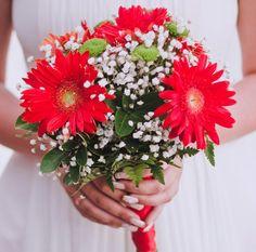 Brautstrauß Gerbera in Rot