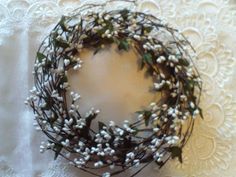 """6"""" Pip Berry Candle Ring Wreath WHITE Berries & Green Leaves Crafts Cottage Chic #Unbranded #CottageCountry"""