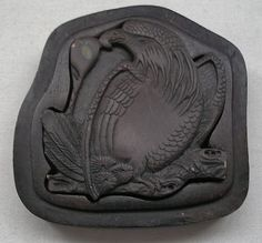 Hand Carved INK STONE Museum Quality BOX Wood or Mineral JAPANESE Bird of Prey