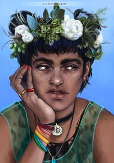 Boy with A Flower Crown Drawing Boy with A Flower Crown Drawing. Boy with A Flower Crown Drawing. Blue From the Raven Boys in flower crown drawing Blue from The Raven Boys Character Inspiration, Character Art, Character Creation, Character Design, Flower Crown Drawing, Drawing Flowers, Pixiv Fantasia, Blue Sargent, Raven King