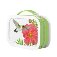 Ruby Throated Hummingbird on Geum Flower Lunchbox  #birds  #bird  #shopping  #gifts  #twopurringcats