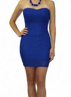 Blue Mini Dress - Navy Strapless Bodycon