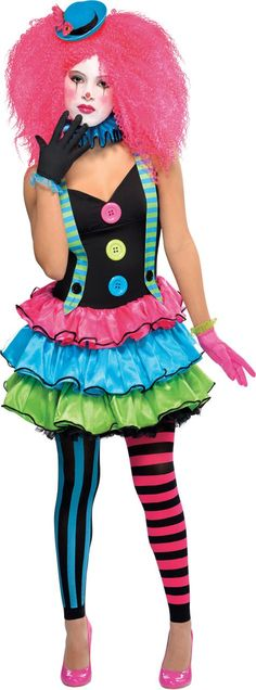 Teen Girls Cool Clown Costume - Party City