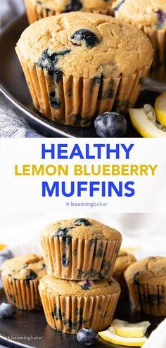 Healthy Lemon Blueberry Muffins: moist 'n delicious healthy lemon blueberry muffins made with healthy, whole ingredients. #Lemon #Muffins #Healthy #Blueberry   Recipe at BeamingBaker.com Vegan Gluten Free Desserts, Coconut Desserts, Sugar Free Desserts, Healthy Dessert Recipes, Healthy Treats, Healthy Food, Blueberry Lemon Scones, Lemon Muffins, Healthy Muffin Recipes