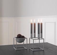 Kubus 4 lysestage og Kubus Bowl i cool grey 👏🏼 Kubus By Lassen