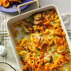 Penne and Smoked Sausage Recipe -This must-try casserole tastes so good when it's hot and bubbly from the oven. The cheddar french-fried onions lend a cheesy, crunchy touch. —Margaret Wilson, Sun City, California