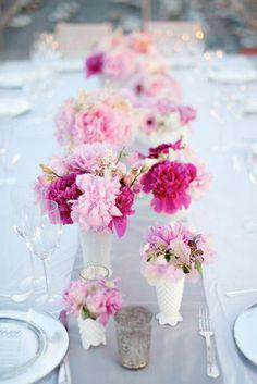Milk glass vases and pretty pink blooms. Photo Source: Justin Marantz #milkglass #centerpieces #pink