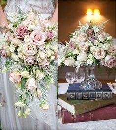 For a vintage-style wedding - faded roses and books as a centrepiece stand