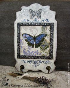 """Купить Ключница-вешалка """"Бабочка"""" - белый, бабочка, ключница, ключница-вешалка, синяя бабочка, для прихожей"""