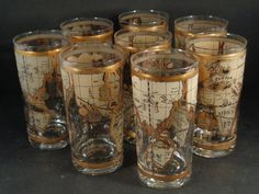 Barware Collection - CERA - OLD WORLD MAP - HIGHBALL GLASSES