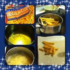 This is an easy way to make french fries!!! Just get any freezer bag of oven french fries, and fry them super easy and tasty!!!!!!