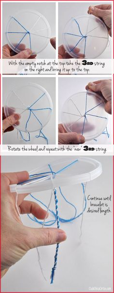 How To Make A Friendship Bracelet With A Recycled Plastic Lid Tween Craft Idea … - Diy Craft Ideas Bracelet Crafts, Jewelry Crafts, Diy And Crafts, Crafts For Kids, Tween Craft, Bracelet Making, Jewelry Making, Bracelets Bleus, Yarn Bracelets
