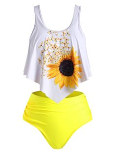 Overlay Flounces Ruched Sunflower Plus Size Tankini Swimsuit Tankini Swimsuits Flounces Overlay Ruched size Sunflower swimsuit tankini Sporty Swimwear, Retro Swimwear, Curvy Swimwear, Swimwear Fashion, Swimsuits, Summer Swimwear, Bikini Swimwear, Bikinis, Plus Size Tankini