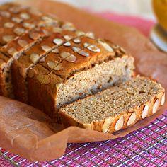Banana bread recipe with whole wheat pastry flour, gluten free corn flour, natural almond butter & stevia. Sugar free, healthy cake, diabetes friendly