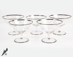 Set of 5 Platinum / Silver Trim Crystal Champagne Coupe / Saucers / Low Sherbet / Cocktail Glasses - Plain Stem Mid Century Modern by TheCordialMagpie from Etsy. Find it now at http://ift.tt/1QPgt0w!