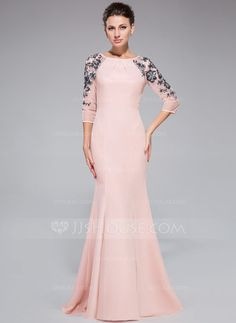 Trumpet/Mermaid Scoop Neck Floor-Length Chiffon Tulle Evening Dress With Ruffle Sequins (017041144) - JJsHouse