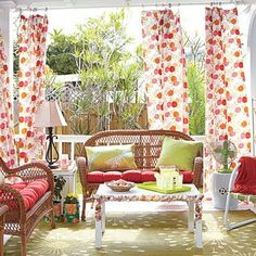add some shade - red and white porch - summer porch and patio decor, design ideas and inspiration - Update Dallas Outdoor Curtains, Outdoor Rooms, Outdoor Living, Outdoor Decor, Porch Curtains, Porch Canopy, Ikea Canopy, Canopy Curtains, Canopy Bedroom