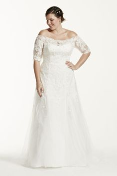 Extra Length Lace Jewel 3/4 Sleeve Illusion Plus Size Wedding Dress - Soft White, 16W