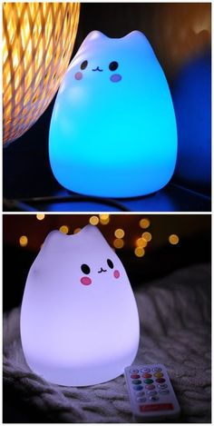 - 7 Color Changeable Silicone LED Lamp Kawaii Cat Shaped USB Rechargeable Night Light Informations Abo - Chat Kawaii, Kawaii Cat, Kawaii Halloween, Halloween Cat, Kawaii Room, Cool Gadgets, Plushies, Cool Things To Buy, Diy And Crafts