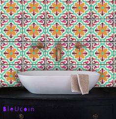 carrelage / mur décalques autocollants: Art déco multicolore - 44 pcs par Bleucoin sur Etsy https://www.etsy.com/be-fr/listing/257470867/carrelage-mur-decalques-autocollants-art