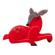 Limited edition, original Erstwilder Dot the Dozing Deer brooch in red. Designed by Louisa Camille Melbourne. Plastic Jewelry, Resin Jewelry, Jewellery, Steady Clothing, Family Jewels, Baby Deer, Wooden Jewelry, Animal Jewelry, French Artists