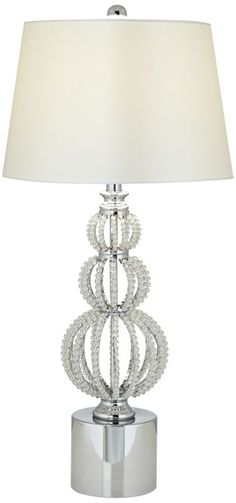 Beaded Stacked Spheres Chrome with White Crystal Table Lamp -