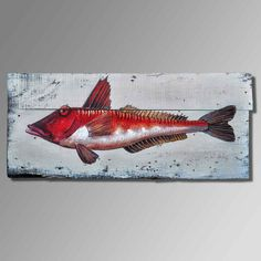 Old wood painting, animal fish theme abstract art wood painting. High-quality hand-painted wood wall art pictures