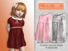 Classic Collar Dress - TØMMERAAS - f toddler - custom thumbnails for each swatch - 15 swatches - new mesh - all LODs - all maps - HQ compatible please do not repost anywhere, thanks (tusen takk)! Sims 4 Toddler Clothes, Sims 4 Cc Kids Clothing, Sims 4 Mods Clothes, Toddler Outfits, Kids Outfits, Sims 4 Game Mods, Sims Mods, The Sims 4 Pc, Sims Cc