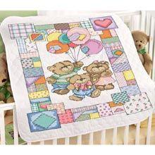 Patchwork Teddies Baby Quilt Stamped Cross Stitch Kit - Herrschners
