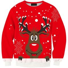 SEXYARN Unsiex Ugly Christmas Pullover Sweater Crewneck X-mas... ($16) ❤ liked on Polyvore featuring tops, hoodies, sweatshirts, sweat shirts, sweat tops, sweater pullover, red top and crew neck sweat shirt