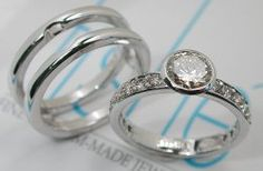 Tishe - 18KT. White gold Full Bezel set engagement ring with full side pave set with a sleeve ring.