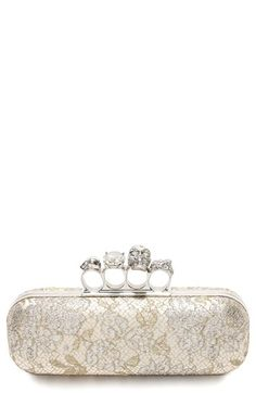 Knuckle Clasp Lace Box Clutch at Nordstrom.com. An edgy knuckle clasp crowned with Swarovski-encrusted skulls cleverly juxtaposes with the elegant lace construction of this signature box clutch.