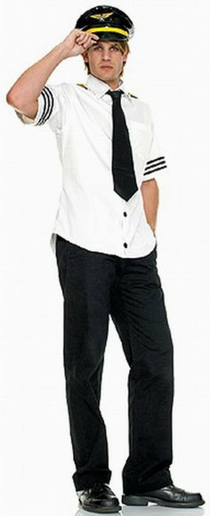 Men's Role-playing Captain Halloween Costumes Shirt+Hat+Tie One Color White  -$19.50