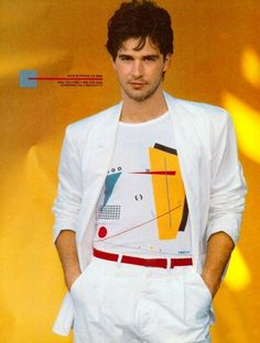 80s White Miami Vice style suit with rolled-up sleeves and geometric T-shirt