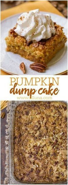 Try this fall dump cake variation - Pumpkin Dump Cake! This delicious pumpkin dump cake recipe is complete with all the fall flavors, pumpkin, pecan, and cinnamon spice. Weight Watcher Desserts, Köstliche Desserts, Delicious Desserts, Yummy Food, Homemade Desserts, Pumpkin Recipes, Fall Recipes, Speggetti Recipes, Fall Dessert Recipes