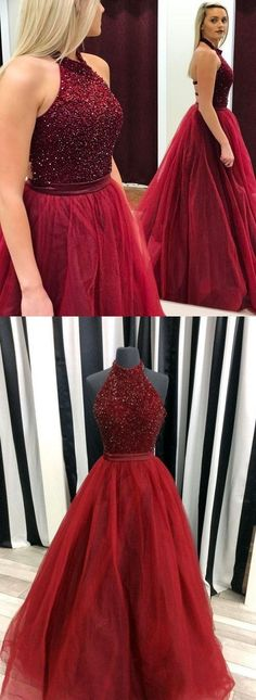 prom dresses, long prom dresses, halter prom party dresses, sexy backless evening gowns, cheap evening dresses with beading #longpromdresses