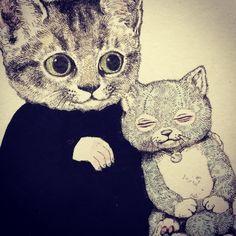 "llustration by Yuko Higuchi, ""Higuchi Yuko Artworks"" Vampire Illustration, Illustration Art, Japanese Artwork, Art Costume, Hippie Art, Fairytale Art, Cat Drawing, Animal Paintings, Crazy Cats"
