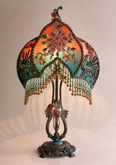 Christine Kilger's Nightshades are one-of-a-kind victorian lampshades with hand-beaded shades on period lighting fixtures and are designed and created with rare antique fabrics, appliqués and embellishments circa Wooden Lampshade, Fabric Lampshade, Lampshades, Victorian Lamps, Antique Lamps, Vintage Lamps, Rustic Lamp Shades, Decorative Lamp Shades, Fan Lamp