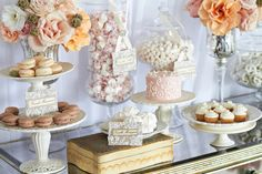 Blush candy buffet with macarons and mini cupcakes. Notice the lace tags. Cute!