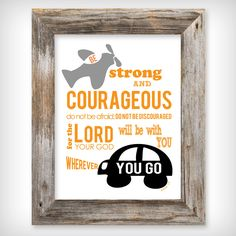 Boy's 8x10 Scripture Verse Art Print  Be Strong and by buhbay, $18.00