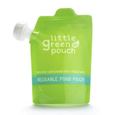 Little Green Pouch - a reusable food pouch that is BPA free, dishwasher safe, and freezable.
