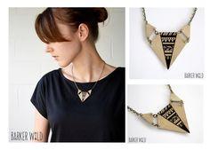 Handmade Leather Geometric Tribal Fox Necklace