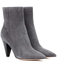 Gianvito Rossi - Exclusive to mytheresa.com – Kay suede ankle boots - Gianvito Rossi's Kay ankle boots have been crafted in Italy from slate grey suede to give them trans-seasonal potential. The sharp silhouette is achieved by a streamlined toe and angular block heel, both bringing a feel of structural modernity. Team yours with skinny denim for a chic daytime look. seen @ www.mytheresa.com