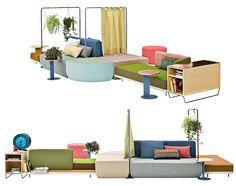 Em estandes como o da Moroso, cujo sofá Bikini Landscape foi a estrela, um resumo de várias tendências.